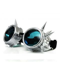 STEAM PUNK  WELDING CYBER GOGGLES WITH SPIKES - SLIVER BLUE LENS