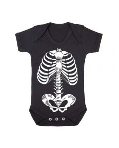 SKELETON - BLACK BABY GROWS