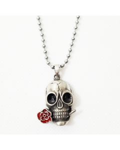 ROSE SKULL - RED ROSE - ANTIQUE PEWTER PENDANT WITH BALL CHAIN