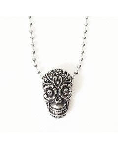 SUGAR SKULL ANTIQUE PEWTER PENDANT WITH BALL CHAIN