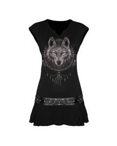 WOLF DREAMS BLACK STUDWAIST DRESS