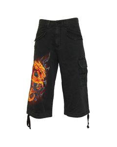 FIRE DRAGON BLACK VINTAGE CARGO SHORTS 3/4 LONG