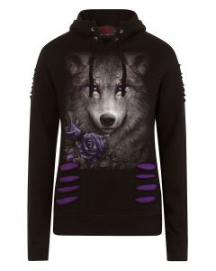 WOLF ROSES LARGE HOOD RIPPED PURPLE-BLACK HOODY