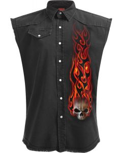 SKULL BLAST - SLEEVELESS STONE WASHED BLACK WORKER