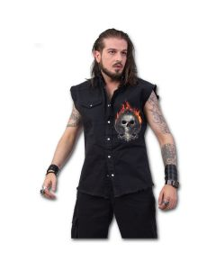 ACE REAPER - SLEEVELESS STONE WASHED BLACK WORKER