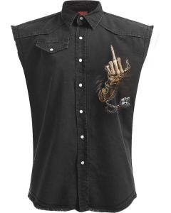 BIKE LIFE - SLEEVELESS STONE WASHED BLACK WORKER