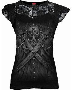 STRAPPED - CORSET LACE LAYERED BLACK TOP