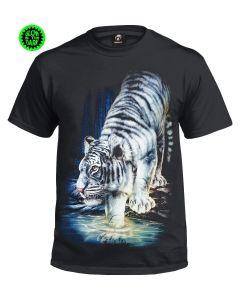 WHITE TIGER - GLOW IN THE DARK BLACK  T-SHIRT