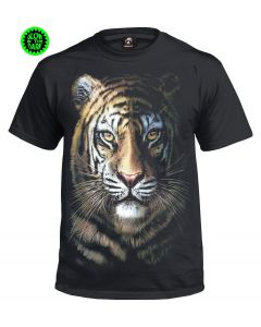 TIGER FACE- GLOW IN THE DARK BLACK  T-SHIRT