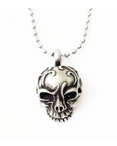 TRIBAL SKULL ANTIQUE  PEWTER PENDANT WITH BALL CHAIN