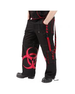 BIOHAZARD BLACK TROUSERS (RED PRINT)