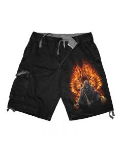 FLAMING DEATH BLACK CARGO SHORTS