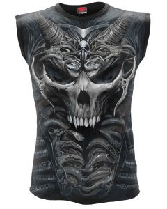 SKULL ARMOUR - ALLOVER BLACK SLEEVELESS T-SHIRT