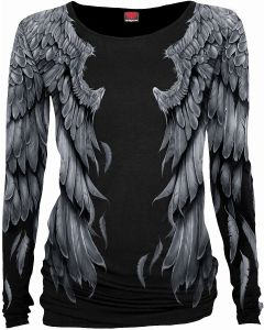 SERAPHIM - ALLOVER LONG SLEEVE BLACK TOP