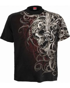 SKULL SHOULDER -  ALLOVER BLACK T-SHIRT