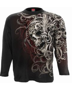 SKULL SHOULDER WRAP -  ALLOVER BLACK LONG SLEEVE T-SHIRT