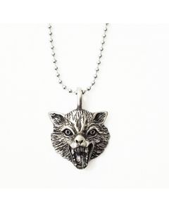 DARK WOLF ANTIQUE PEWTER PENDANT WITH BALL CHAIN