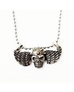 WINGED SKULL - ANTIQUE PEWTER PENDANT WITH BALL CHAIN