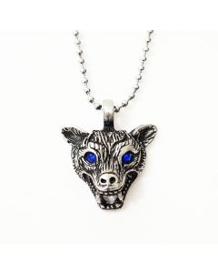 WOLF HEAD -BLUE EYES - ANTIQUE PEWTER PENDANT WITH BALL CHAIN